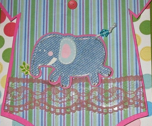 Charming Baby Girl Onesie Elephant Handmade Paper Pieced